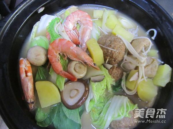 骨汤丸子鲜虾煲怎样煸