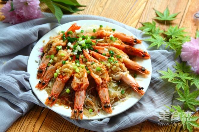 蒜蓉粉丝蒸大虾的制作方法