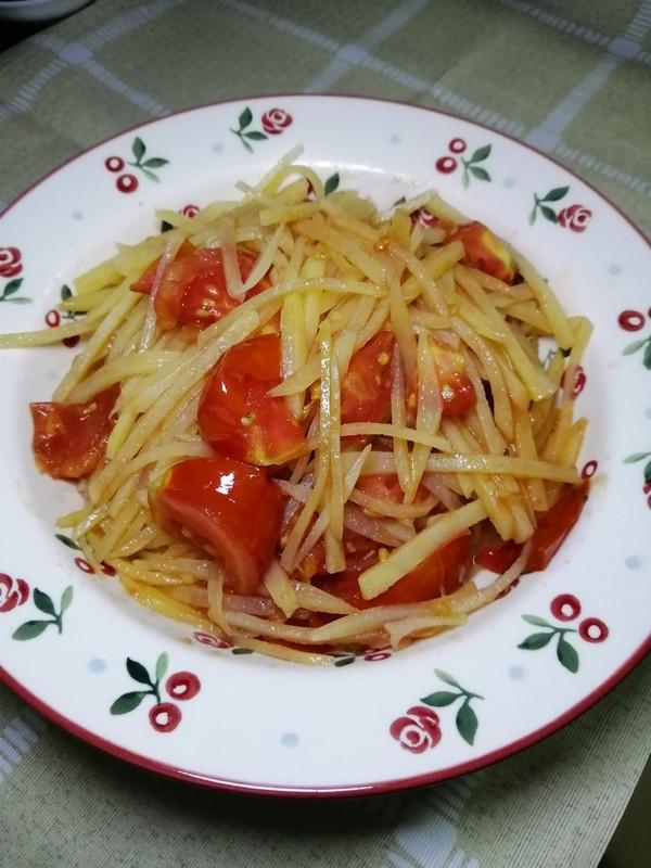 西红柿炒土豆丝的步骤