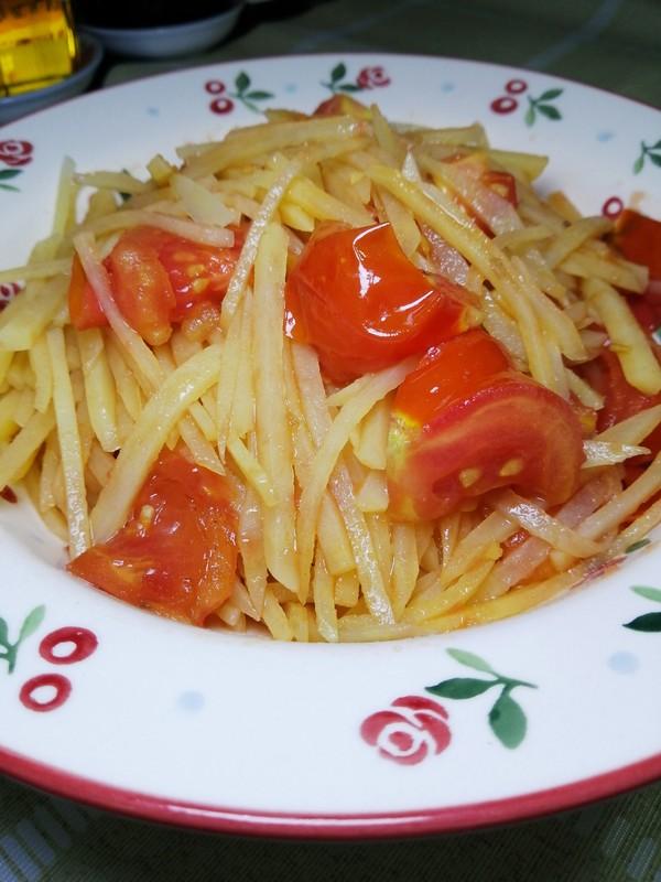 西红柿炒土豆丝成品图