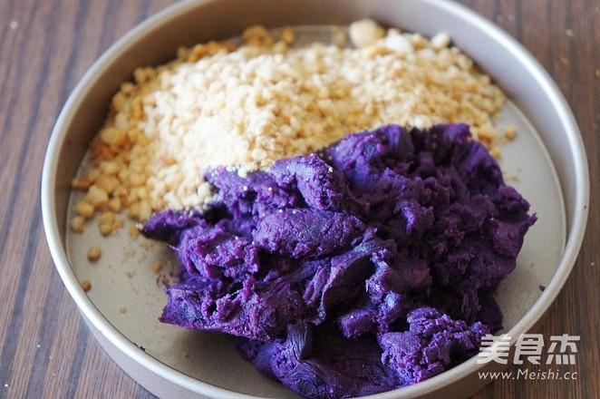 紫薯花生仁馅面包的做法大全