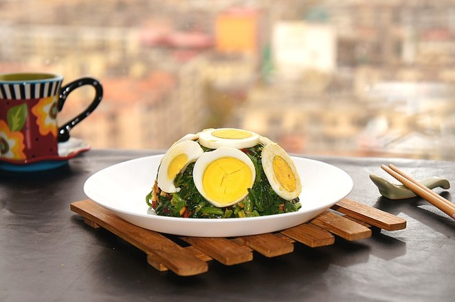 麻将菠菜拌鸡蛋怎么煮