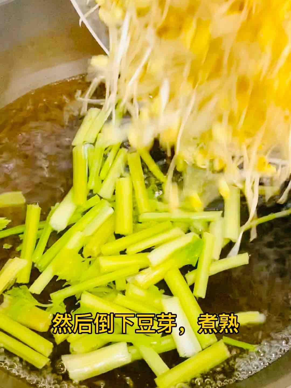 凉拌脆爽豆芽和芹菜的做法图解