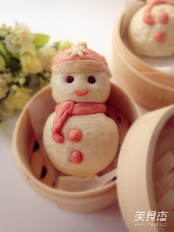 雪人豆沙包成品图