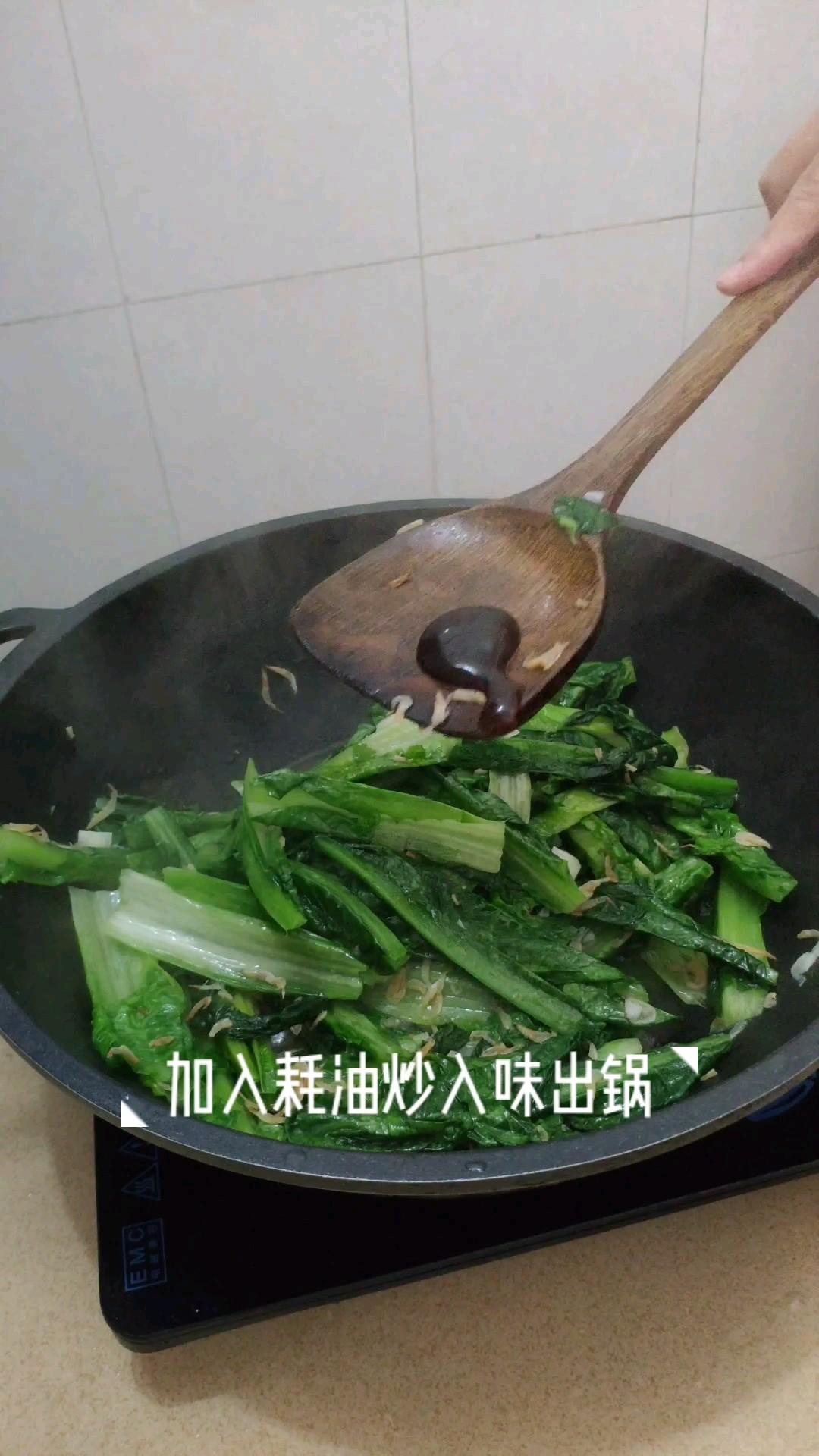 虾皮炒油麦菜的步骤