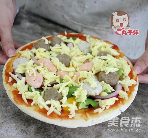 简易牛肉丸比萨怎么吃