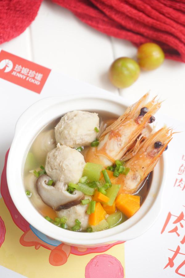 鲜虾肉丸汤成品图