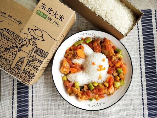 茄汁鱼块盖饭成品图