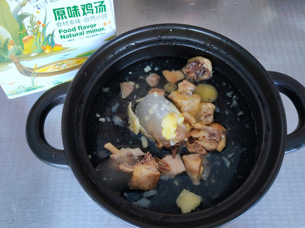 鸡汤炖油皮的做法图解