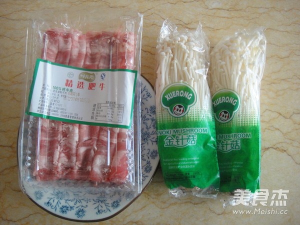 红油金针菇肥牛的做法大全