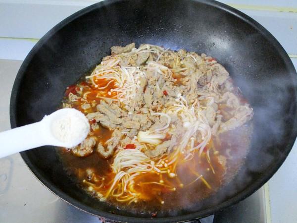 红油金针菇肥牛片怎么炒