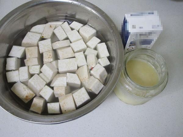 奶香红豆荔枝芋艿甜汤的步骤