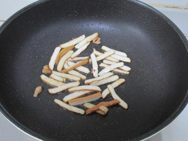 韭菜苔豆干炒肉丝的简单做法