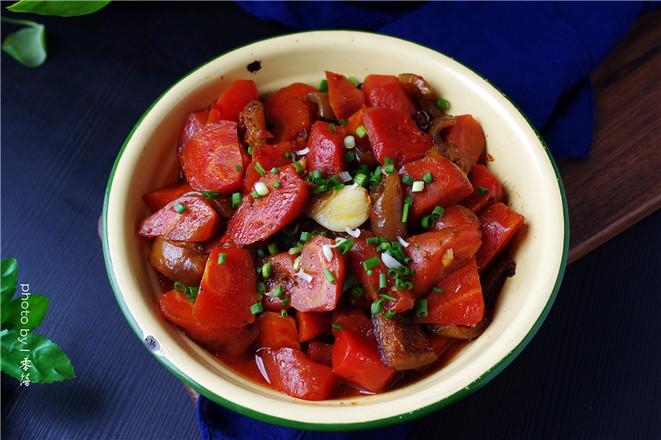 胡萝卜烧肉皮成品图