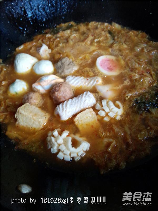 韩式辣白菜丸子汤怎么做