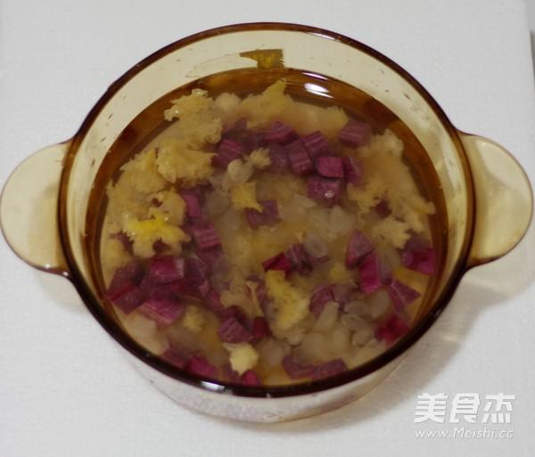 皂角米紫薯银耳羹怎么做