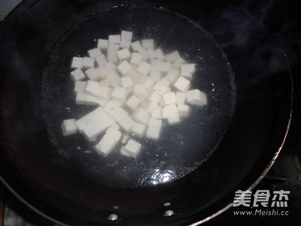 肉丁玉米粒胡萝卜烧豆腐的做法图解