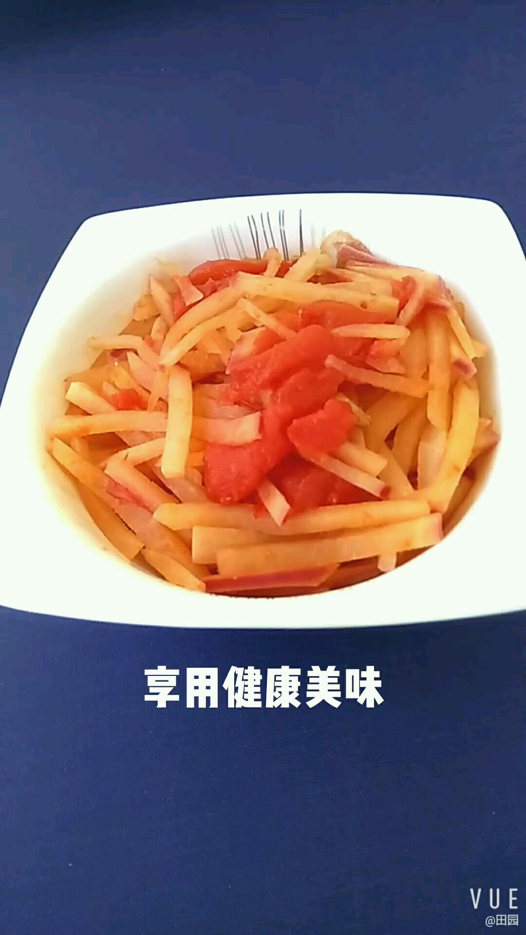 西红柿烧萝卜成品图