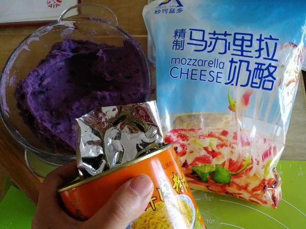 紫薯芋泥拉丝面包的制作