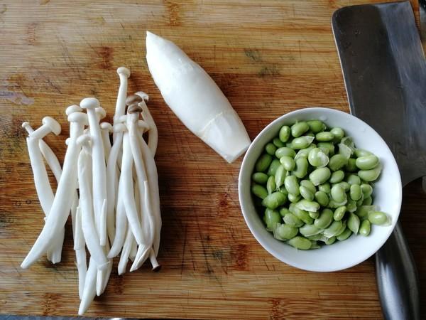 茭白海鲜菇炒毛豆的做法大全