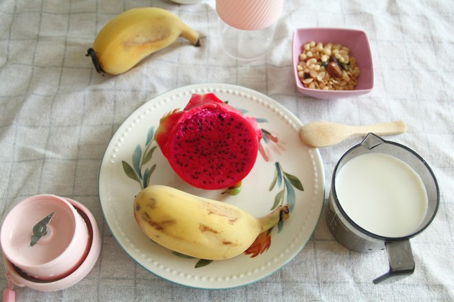 可以当减脂早餐的苹果蕉火龙果奶昔的做法大全