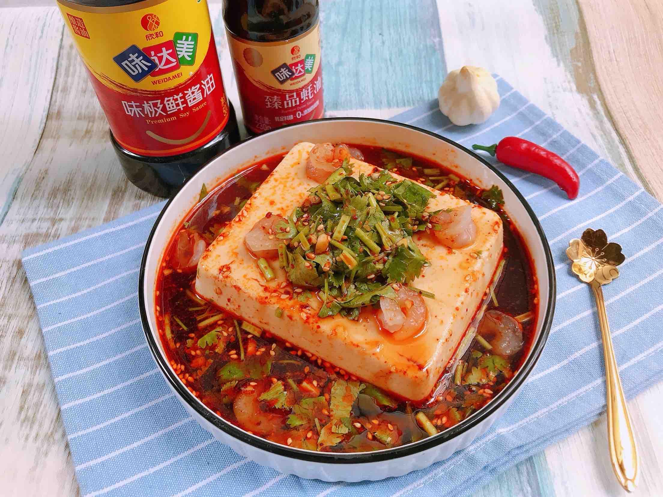 捞汁虾仁豆腐成品图
