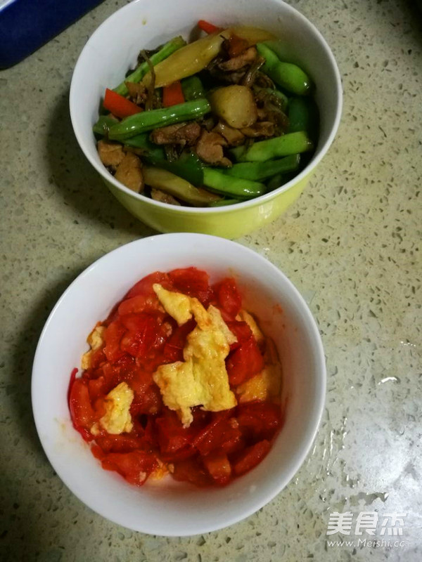 四季豆肉末西红柿鸡蛋面条怎样煸