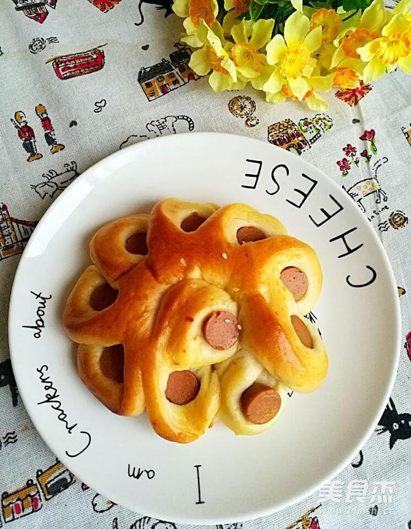 火腿腸花形面包成品圖