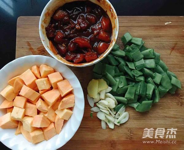 红薯鸡肉刀豆焖饭的简单做法