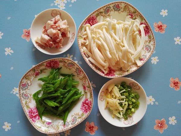 白玉菇荷兰豆炒五花肉的做法图解