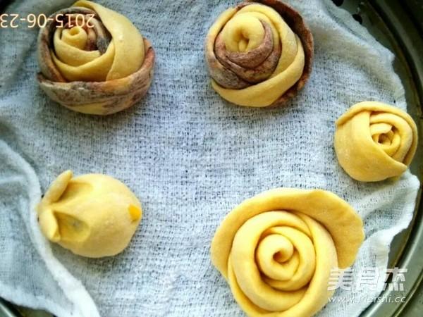 红玫瑰花朵花卷馒头的制作方法