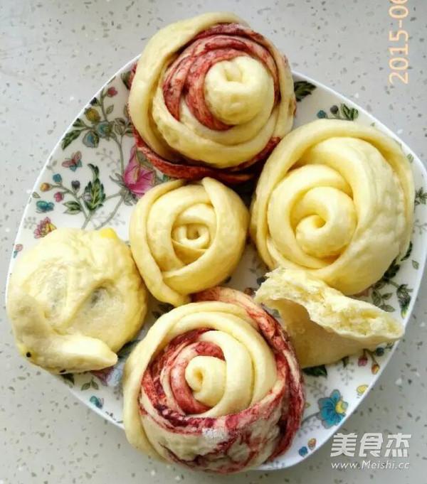 红玫瑰花朵花卷馒头的制作大全