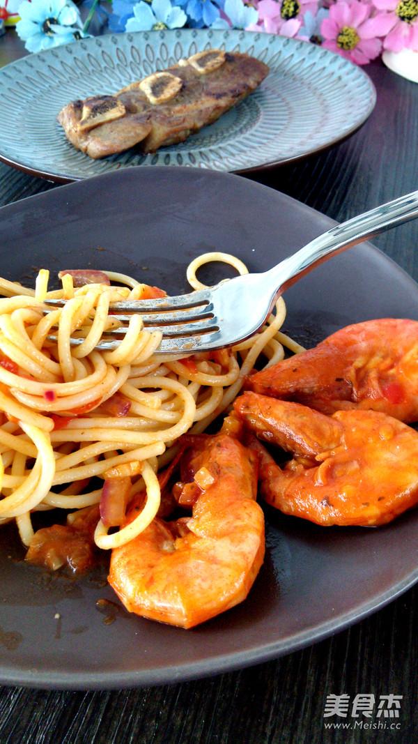 茄汁鲜虾拌意面怎么炒