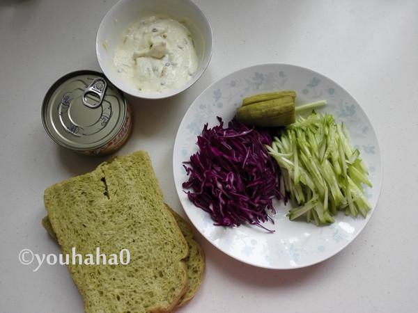 金枪鱼蔬菜三明治的做法大全