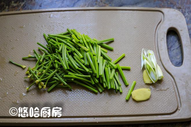 韭苔炒虾虎的做法图解