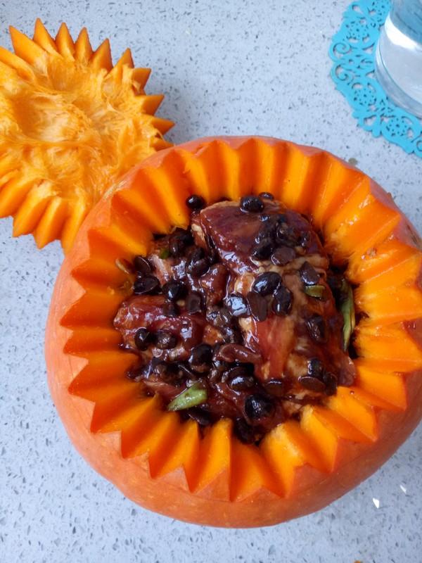 南瓜盅豉香蒸排骨怎么煮