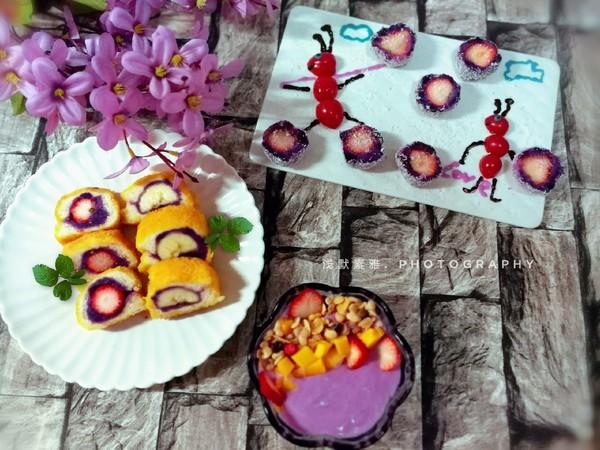 椰蓉紫薯草莓球成品图