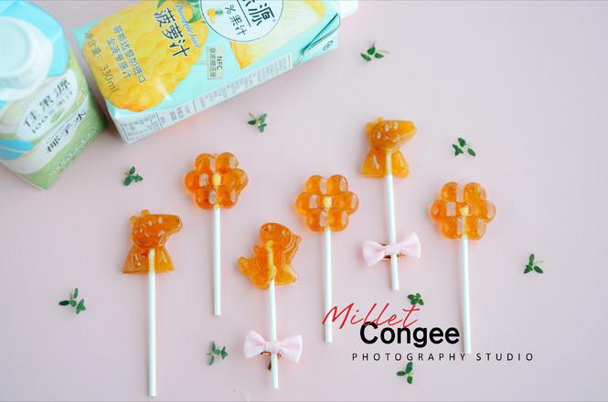 菠萝味棒棒糖成品图