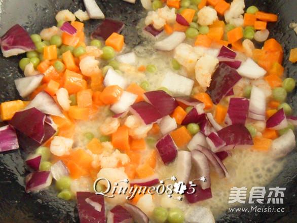 虾味蛋液炒蔬菜怎么做