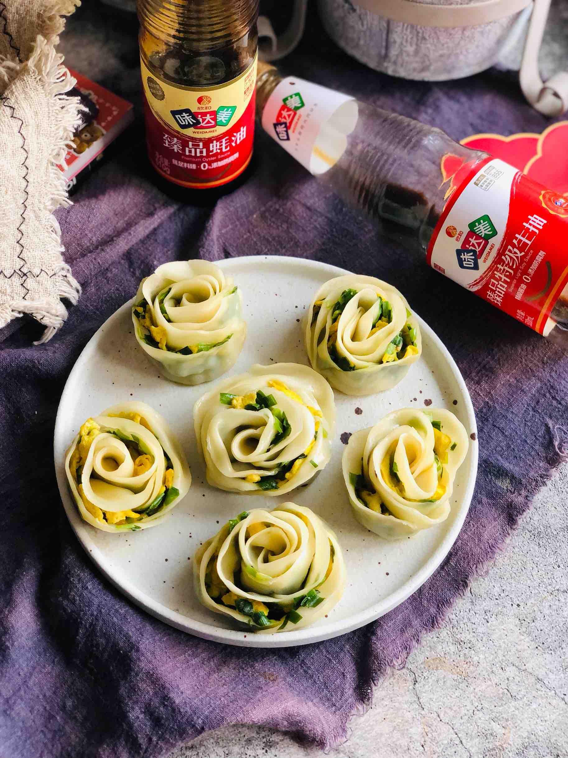 新年开运菜|花开富贵玫瑰花煎饺成品图