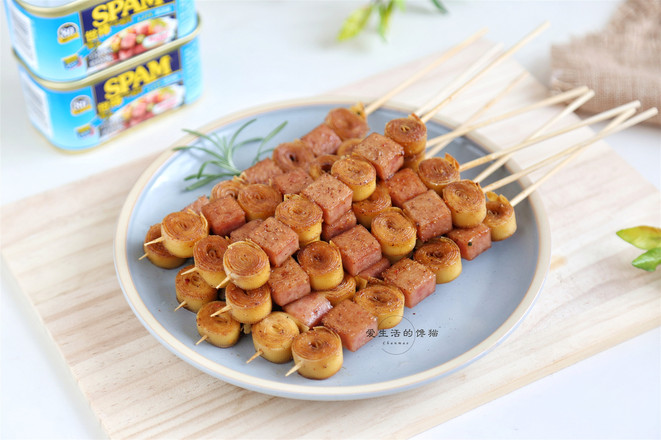 午餐肉烤豆皮成品图