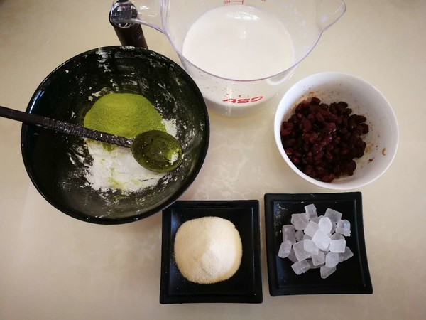 椰香抹茶红豆糕的做法大全