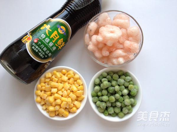 玉米豌豆炒虾仁的步骤