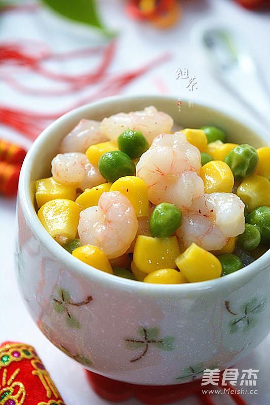 玉米豌豆炒虾仁成品图