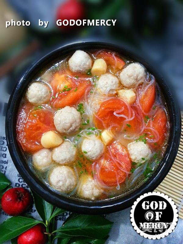 番茄鸡脯肉圆子汤成品图