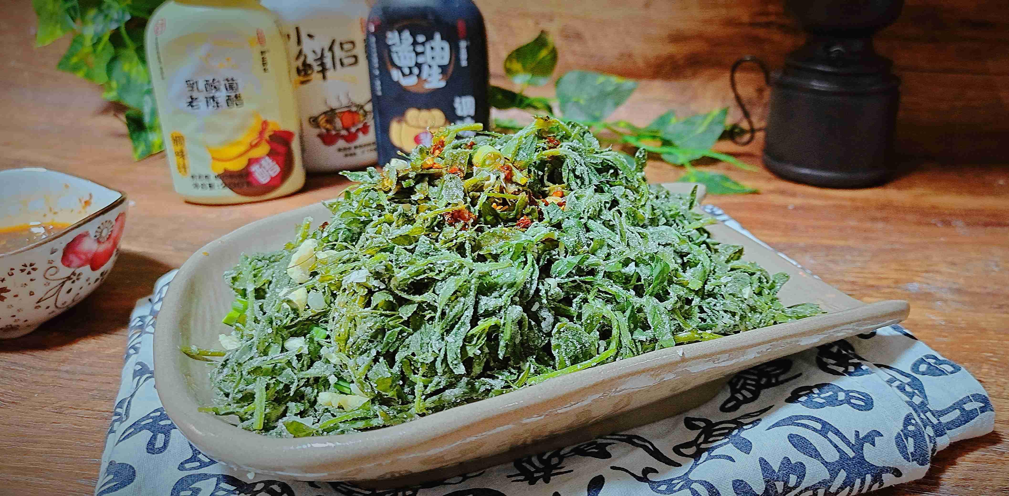 春天不可错过,野菜这样吃味道超赞…蒸豌豆苗成品图