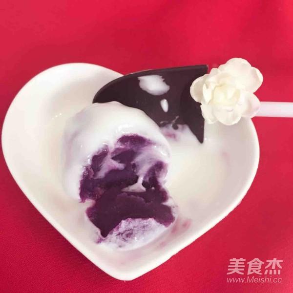 酸奶紫薯球的步骤