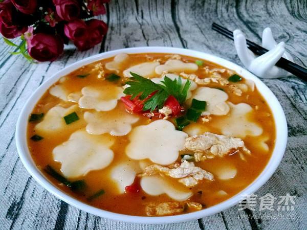 小柿子鸡蛋面片汤成品图