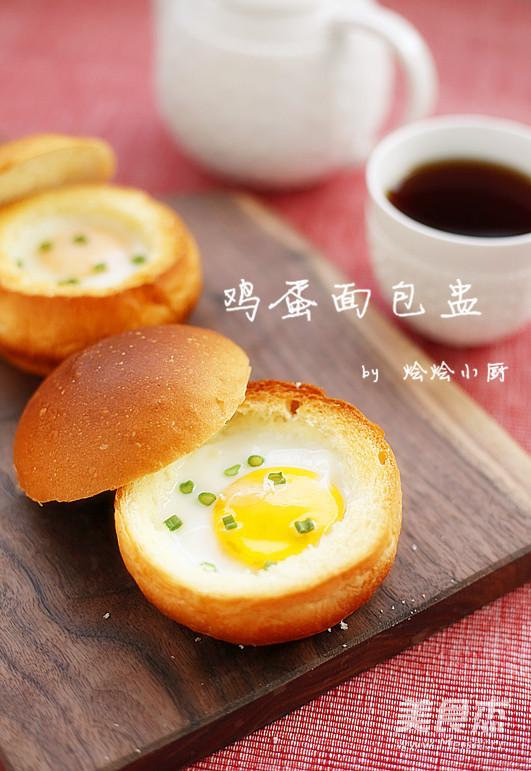 鸡蛋面包盅成品图