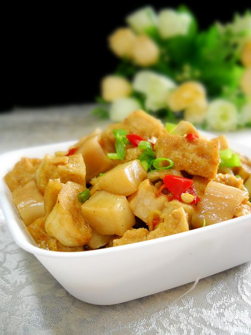 杏鲍菇烧豆腐成品图